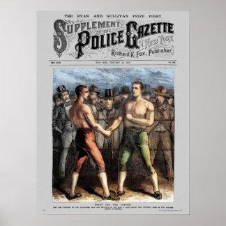 Police Gazette poster Sullivan Ryan (color)