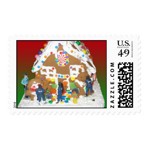 Police Gingerbread Holiday Season Postage