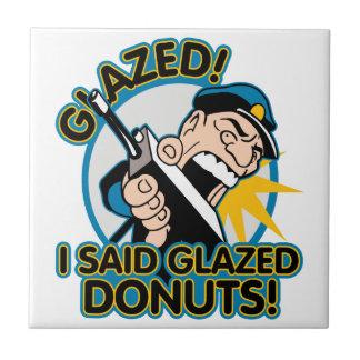 Police Glazed Donuts Small Square Tile