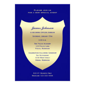 Police Graduation Invitations Badge on Navy Personalized Announcement