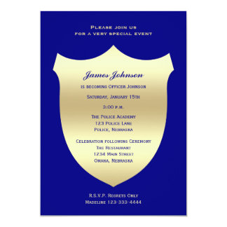 Police Graduation Invitations Badge on Navy