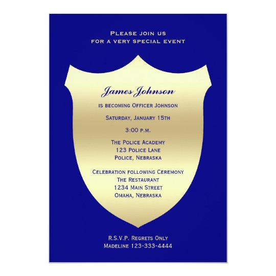 Police Graduation Invitations Badge on Navy