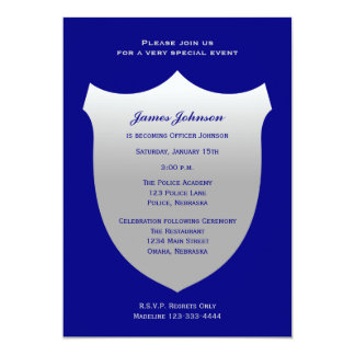 Police Graduation Invitations Silver Badge on Navy