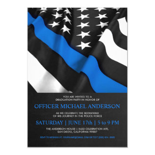 Police Graduation Invitations | Usa Flag at Zazzle