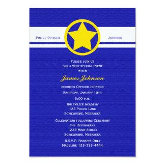 Police Graduation Invitations Yellow Police Badge