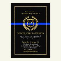 Police Graduation | Retirement Themed Monogram Invitation