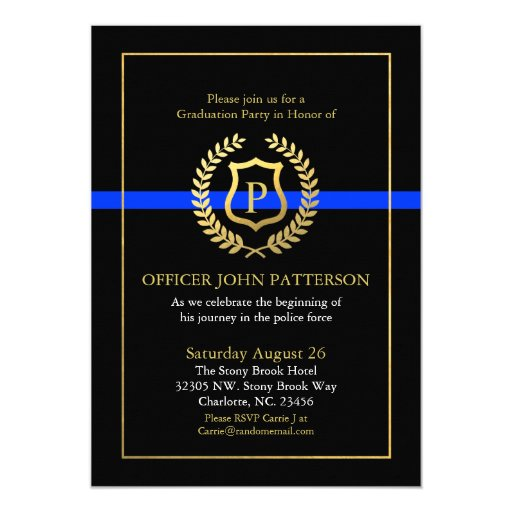 Police Graduation Retirement Themed Monogram Invitation