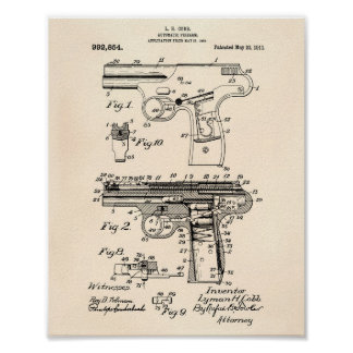 Police Gun 1911 Patent Art - Old Peper Poster
