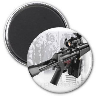 Police Gun 2 Inch Round Magnet