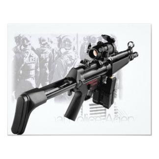 Police Gun 4.25x5.5 Paper Invitation Card