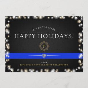 police happy holidays christmas style custom holiday card