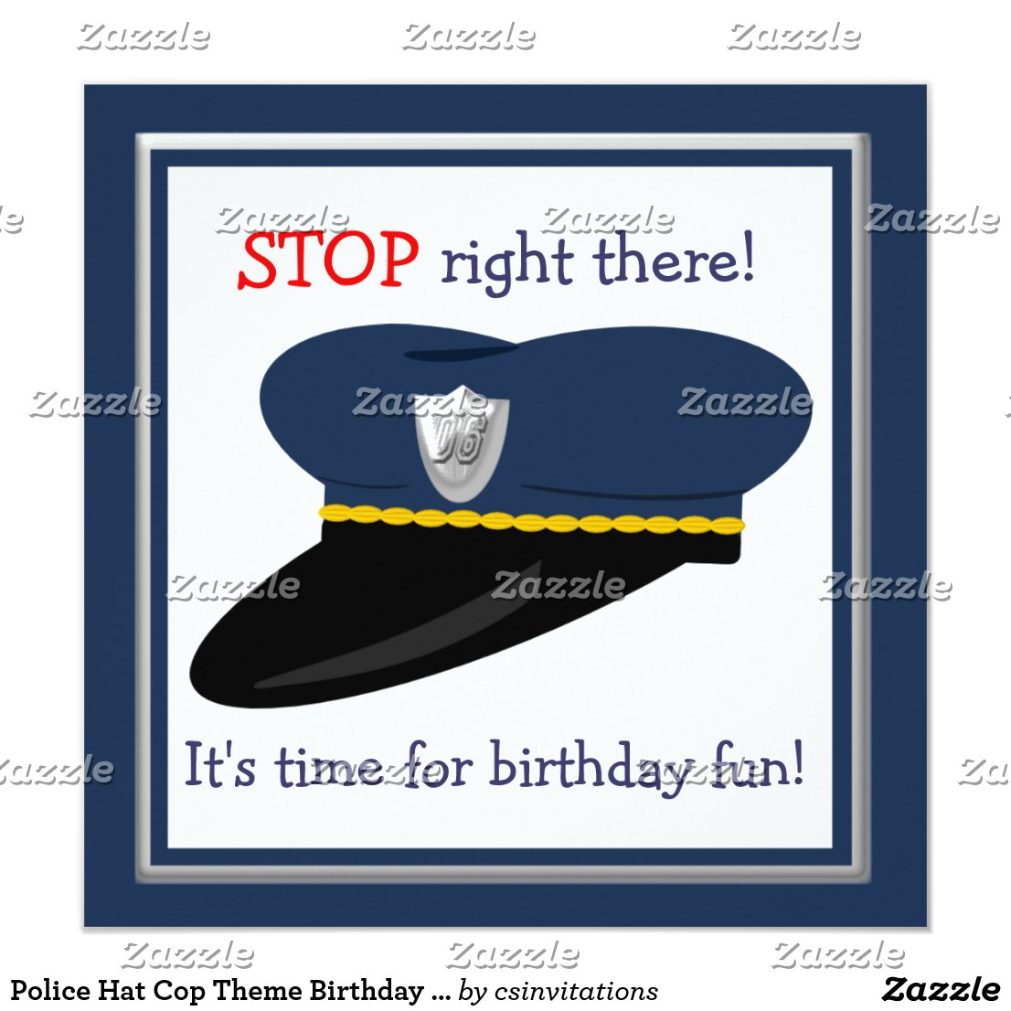 Police Hat Cop Theme Birthday Party