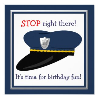 Police Hat Cop Theme Birthday Party Personalized Invites