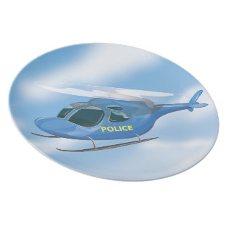 Police Helicopter Melamine Plate