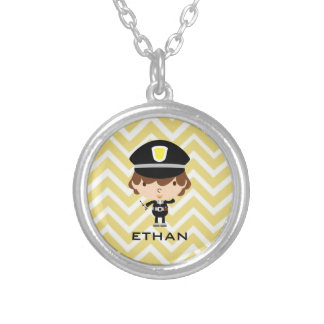 Police Highway Patrol or Traffic Controller Round Pendant Necklace