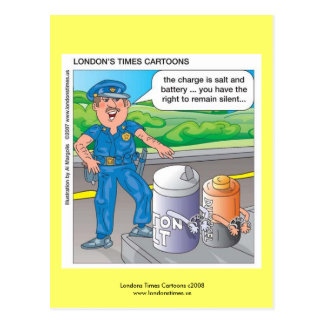 Police Humor Assault & Battery Funny Postcards