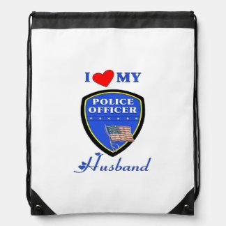 Police Husband Drawstring Backpack