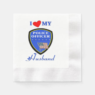 Police Husband Coined Cocktail Napkin
