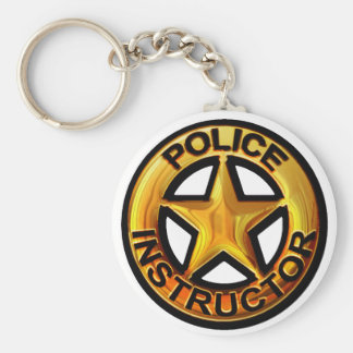 Police Instructor Badge Key Chains