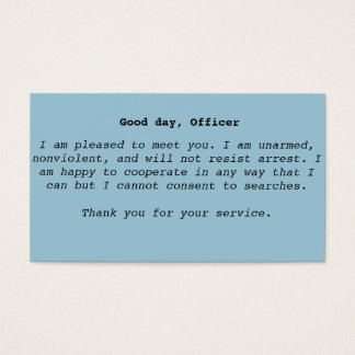 Police Interaction Cards