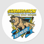 Police K9 Submission Classic Round Sticker
