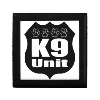Police K9 Unit Black Badge Dog Paws Keepsake Box