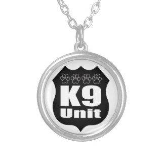 Police K9 Unit Black Badge Dog Paws Silver Plated Necklace