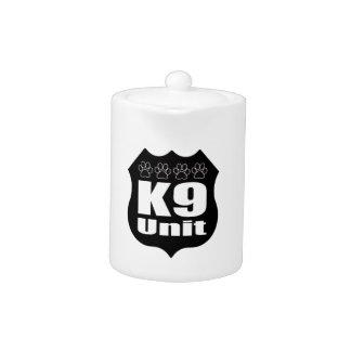 Police K9 Unit Black Badge Dog Paws Teapot