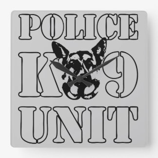 Police K-9 Unit Square Wall Clock