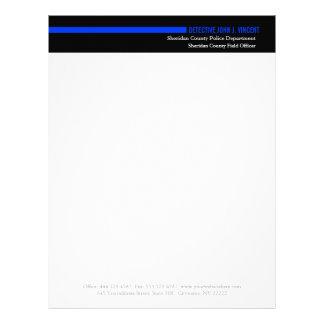 Police Law Enforcement Modern Thin Blue Line Letterhead