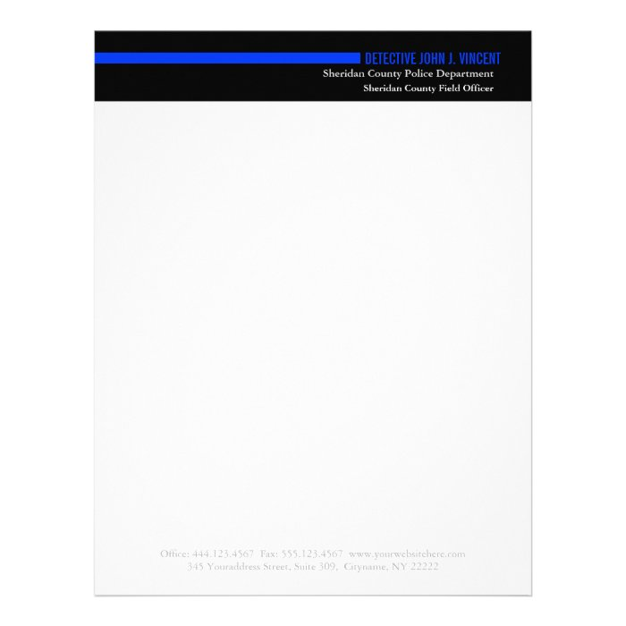 police law enforcement modern thin blue line letterhead