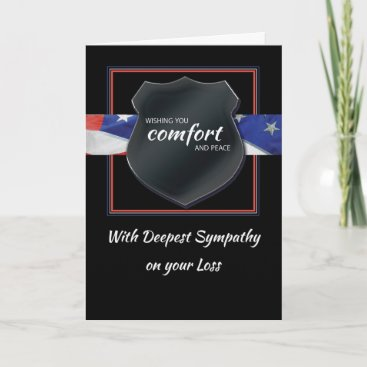 Police Law Enforcement Sympathy Black Badge Card