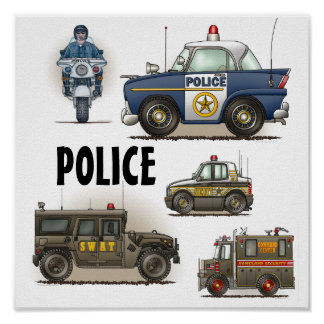 Police Law Enforcement Vehicles Poster 2