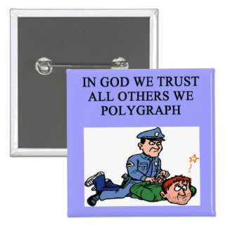 police lie detector jke pinback button