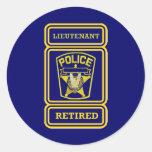 Police Lieutenant Retired Badge Classic Round Sticker