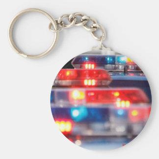 Police Light Bars Basic Round Button Keychain