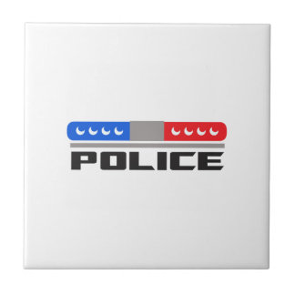 Police Lights Small Square Tile