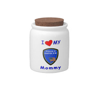 Police Mom Love Candy Jar
