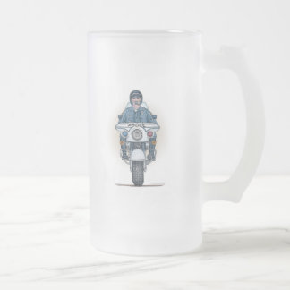 Police Motorcycle Frosted Glass Mug