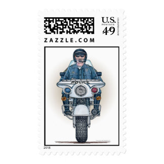 Police Motorcycle Postage Stamp