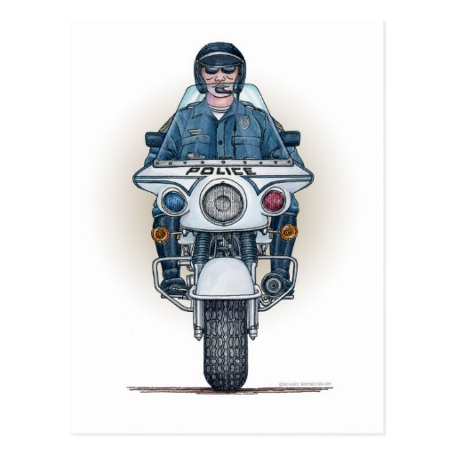 Police Motorcycle Postcard