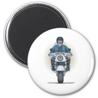 Police Motorcycle Round Magnet