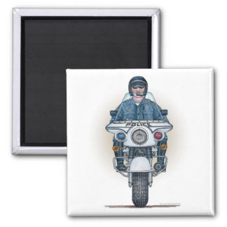 Police Motorcycle Square Magnet