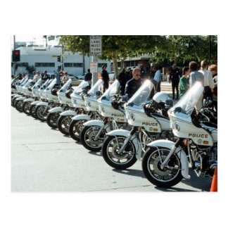Police motorcycles postcard
