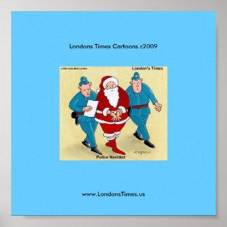 Police Navidad Funny Christmas Cartoon Poster
