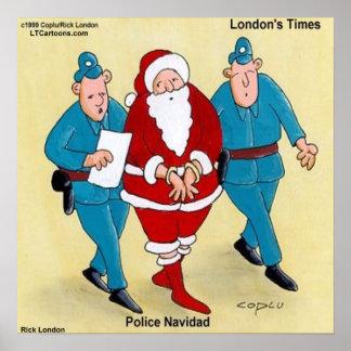 Police Navidad Funny Christmas Poster