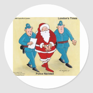 Police Navidad Funny Christmas Santa Gifts & Cards Classic Round Sticker