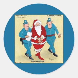 Police Navidad: Santa's Been Very Bad Classic Round Sticker
