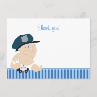 Police Officer Baby Cop Flat Thank you Note
