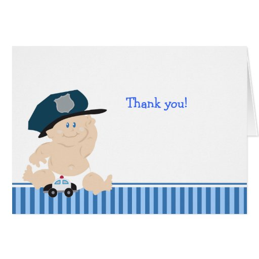 POLICE OFFICER Baby Shower Thank you notes